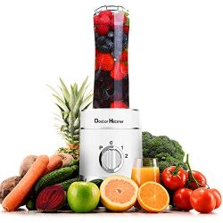 Doctor Hetzner 300-Watt Blender with Travel Lid, Single Serve, For Shakes & Smoothies (White)