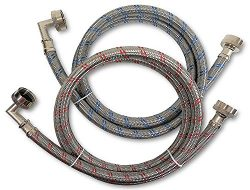 Premium Stainless Steel Washing Machine Hoses with 90 Degree Elbow, 5 Ft Burst Proof (2 Pack) Re ...