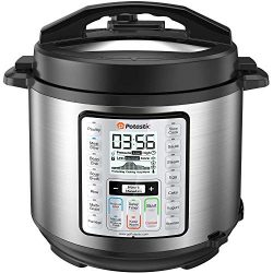 Potastic 6Qt 10-in-1 Programmable Electric Pressure Cooker,LCD Display,Instant Cooking with Stai ...