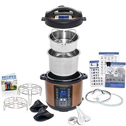 9-in-1 Instant Programmable Pressure Cooker 6 Quarts with Stainless Steel Pot, Steamer Basket, G ...
