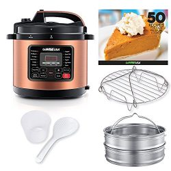 GoWISE USA 10-Quarts 12-in-1 Electric Pressure Cooker + 50 Recipes for your PRessure Cooker Book ...