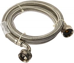 Certified Appliance Accessories 2 pk Braided Stainless Steel Washing Machine Hoses with Elbow, 4ft