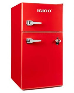 Igloo IRF32DDRSRD Classic Compact Double Door Refrigerator Freezer 3.2 Cu.Ft. Red