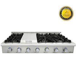 Thor Kitchen 48″ Stainless Steel Gas Rangetop Cover Gas Stove Top Cooker Cooktops with wit ...