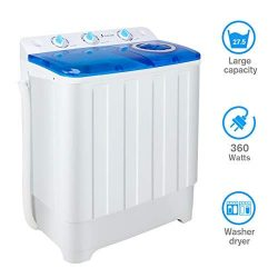Portable Washing Machine with Spin Dryer and Wash Cycle, Compact twin tub Washer Machines Large  ...