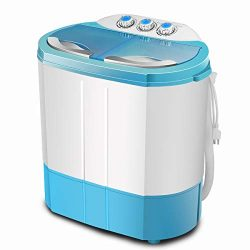 ZeoOne 10 LBS Mini Portable Compact Twin Tub Washing Machine, Washer and Dryer Combo for Apartme ...