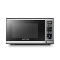 BLACK+DECKER EM720CB7 Digital Microwave Oven with Turntable Push-Button Door,Child Safety Lock,7 ...