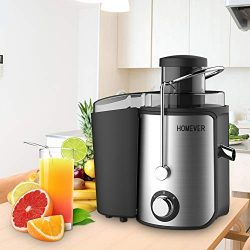 Homever juicer for Fruits and Vegetables, Centrifugal Juicer with Juice cup, 65mm Wide Mouth Hig ...