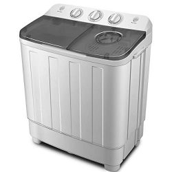 ZeoOne 17 LBS Mini Portable Compact Twin Tub Washing Machine, Washer and Dryer Combo for Apartme ...