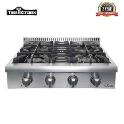 Thor Kitchen 30″ Pro-Style Gas Rangetop with 4 Sealed Burners Stove 4 Control Knobs, Stain ...