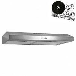 AKDY 24″ Under Cabinet Stainless Steel Push Panel Kitchen Range Hood Cooking Fan w/ Carbon ...