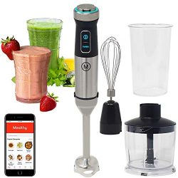 Mealthy Immersion Hand Blender: 500 Watt, 10 Speed Controls Plus Turbo, Includes 500mL Chopper a ...