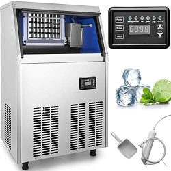 VEVOR 110V Commercial Ice Maker Stainless Steel Portable Automatic Ice Maker Machine Built-In Ic ...