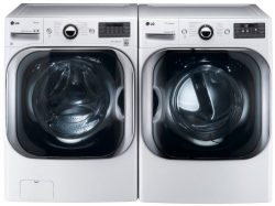 LG White 5.1 Cu Ft Front Load Steam Washer and 9.0 Cu Ft Steam Electric Dryer set WM8000HWA DLEX ...