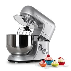 KLARSTEIN Bella Argentea • Tilt-Head Stand Mixer • Dough Hook, Flat Beater, Wire Whip • 650 W •  ...