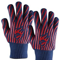 EvridWear 932°F Extreme Heat and Cut Resistant BBQ Gloves Oven Mitts, Non-slip Silicone Coated P ...