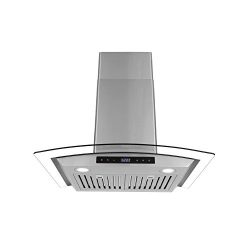 Cosmo COS-668WRCS75 Pro-Style Wall Mount Range Hood 30 inch 760 CFM Tempered Glass Ducted Exhaus ...