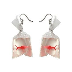 Gbell Women Girls Personality Goldfish Water Bag Dangle Hook Earrings Charm – Large Funny  ...