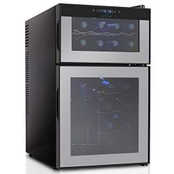 NutriChef 24 Bottle Dual Zone Thermoelectric Wine Cooler – Red and White Wine Chiller R ...