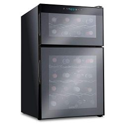 Ivation 24 Bottle Dual Zone Thermoelectric Red & White Wine Cooler/Chiller Counter Top Wine  ...