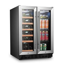 LANBO Wine and Beverage Refrigerator, Compact Built-in Wine and Drink Center Combo, 18 Bottle an ...