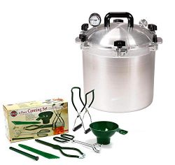 All American 21.5 QT Pressure Cooker Bundle with 2 Racks and Norpro Canning Essentials 6 Piece B ...