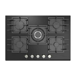 Empava 30″ 5 Italy Sabaf Burners Gas Stove Top Gas Cooktop Black Tempered Glass LPG/NG Con ...
