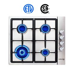 """Gas Cooktop, Gasland chef GH60SSC 24"""" Built-in Gas Stove Top, Stainless Steel LPG Natural  ..."""
