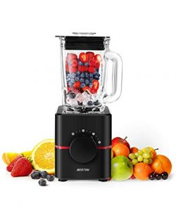 BESTEK Smoothie Blender, 550W All-in-one Countertop Blender Food Processor with 1.5L Glass Jar f ...
