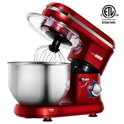 VIVOHOME Electric 650W 6-Speed Tilt-Head Stand Mixer with 6 Quart Stainless Bowl Red ETL Listed