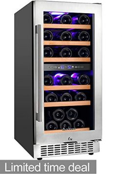"Aobosi 15"" Wine Cooler Dual Zone 30 Bottle Freestanding and Built-in Wine Refrigerator wit ..."