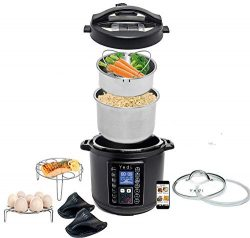 Total Package 9-in-1 Black Instant Programmable Pressure Cooker, with Endless Recipes and Deluxe ...
