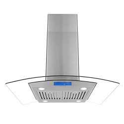 Cosmo 668ICS900 36-in Island Range Hood 760-CFM | Ducted/Ductless Convertible Duct, Glass Ceilin ...