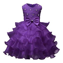 Clearance! Kids Girls Lace Floral Ruffles Princess Wedding Tutu Dresses Costume Formal Pageant D ...