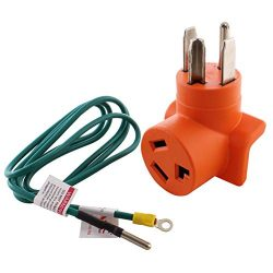 AC WORKS 30 Amp 4-Prong Dryer Wall Outlet Adapter (To 3-Prong 30A Dryer-Compact)
