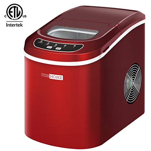 VIVOHOME Portable Electric Automatic Countertop Ice Cube Maker Machine 26lbs/day Red ETL Listed