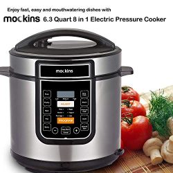 Mockins 6.3 Quart 8 in 1 Electric Pressure Cooker with 16 Functions Including Rice Cooker | Slow ...