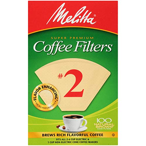 Melitta Cone Coffee Filters, Natural Brown, No. 2, 100-Count Filters (Pack of 6)