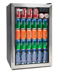 Igloo IBC41SS 180-Can Stainless Steel Glass Door Beverage Center Refrigerator and Cooler 4.1 Cu.Ft,