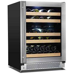 "Sipmore Wine Cooler 24"" Dual Zone Wine Refrigerator 43 Various Bottle Built-in or Freestan ..."