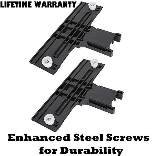 2 Pack W10350376 Dishwasher Top Rack Adjuster Replacement Part w/ 0.90″ Diameter Wheels fo ...