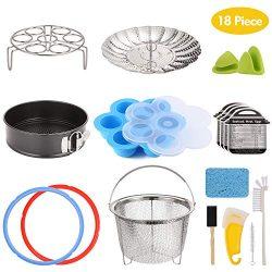 Aozita 18-piece Pressure Cooker Accessories Set for Instant Pot 6 Qt, Steamer Basket, Egg Rack,  ...