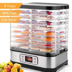 Electric Food Dehydrator Machine Flagup 8 Trays 400W Digital Food Dryer with Timer, Temperature  ...