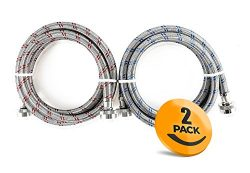 2-Pack Stainless Steel Washing Machine Hoses Burst Proof, 6ft Long – Hot and Cold Water Su ...