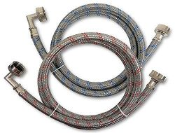Premium Stainless Steel Washing Machine Hoses with 90 Degree Elbow, 6 Ft Burst Proof (2 Pack) Re ...