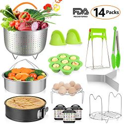 MIBOTE 14 Pieces Instant Pot Accessories Set Fits 5,6,8 Qt – Steamer Baskets, Springform P ...