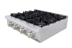 Thor Kitchen 30″ Pro-Style Stainless Steel Gas Rangetop, Gas Stove Top Cooker with 4 Seale ...