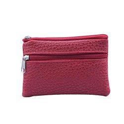 Longay Women Men Leather Wallet Multi Functional Zipper Leather Coin Purse Card Wallet (Red)