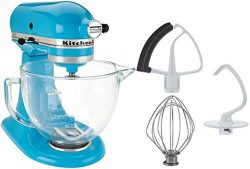 KitchenAid 5-Qt. Tilt-Head Stand Mixer with Glass Bowl and Flex Edge Beater – Crystal Blue