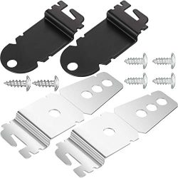 Hotop 2 Packs 8212560 Dishwasher Side Mounting Brackets and 4 Packs Black Installation Screws, 2 ...